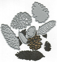 Dies...to die for metal cutting craft die - Pine cone mix - long round layered