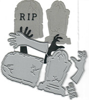 Dies...to die for metal cutting craft die Tombstone / Gravestone & Zombie Hands