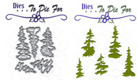 Dies...to die for metal cutting craft die  -Small Pine Trees set of 5