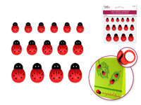 "Mini Wood Ladybugs  - 15 Peel-n-Stick	 1/2""-1"""