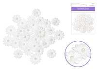 Floral Embellish - Handmade Paper flowers  w/Pearls  32 pcs -  White