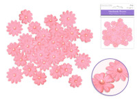 Floral Embellish -  Handmade Paper  w/Pearls  32 PCS -   Pink