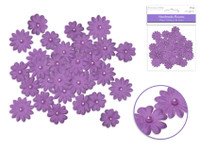 Floral Embellish -  Handmade Paper  w/Pearls  32 PCS Purple
