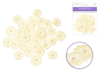 Floral Embellish -  Handmade Paper  w/Pearls 32 PCS  Ivory