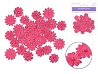 Floral Embellish -  Handmade Paper  w/Pearls  32 PCS  Fuschia