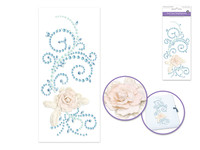 Swirls with Vintage Floral- Blue