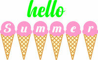 Hello Summer Ice Cream Cones - Laser Die Cut