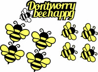 Don't worry BeeHappy  with 8 Bees -  Laser Die Cut- Assembly Required