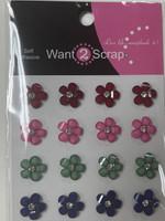 Country Fresh - Crystal cut flowers with rhinestone center