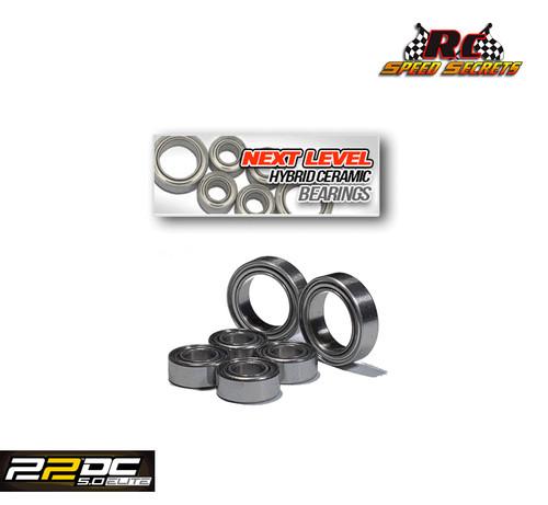 "Rc Speed Secrets ""Next Level"" Hybrid Ceramic Gearbox Bearings Stainless  for 22S No Prep Drag Roller"