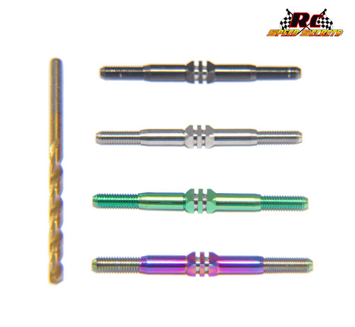 RCSS XRAY XB4 Beast Mode Titanium Turnbuckle Set (Choose from Bada' Bling, Blue or Stealth Black, MonstaGreen Finishes)