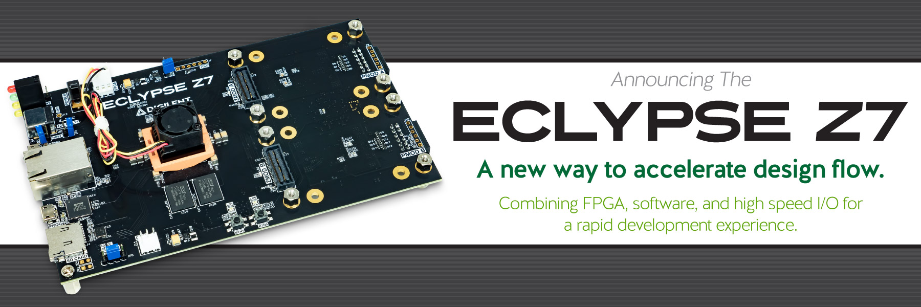 Banner announcing the release of the new Eclypse Z7 board, available now!