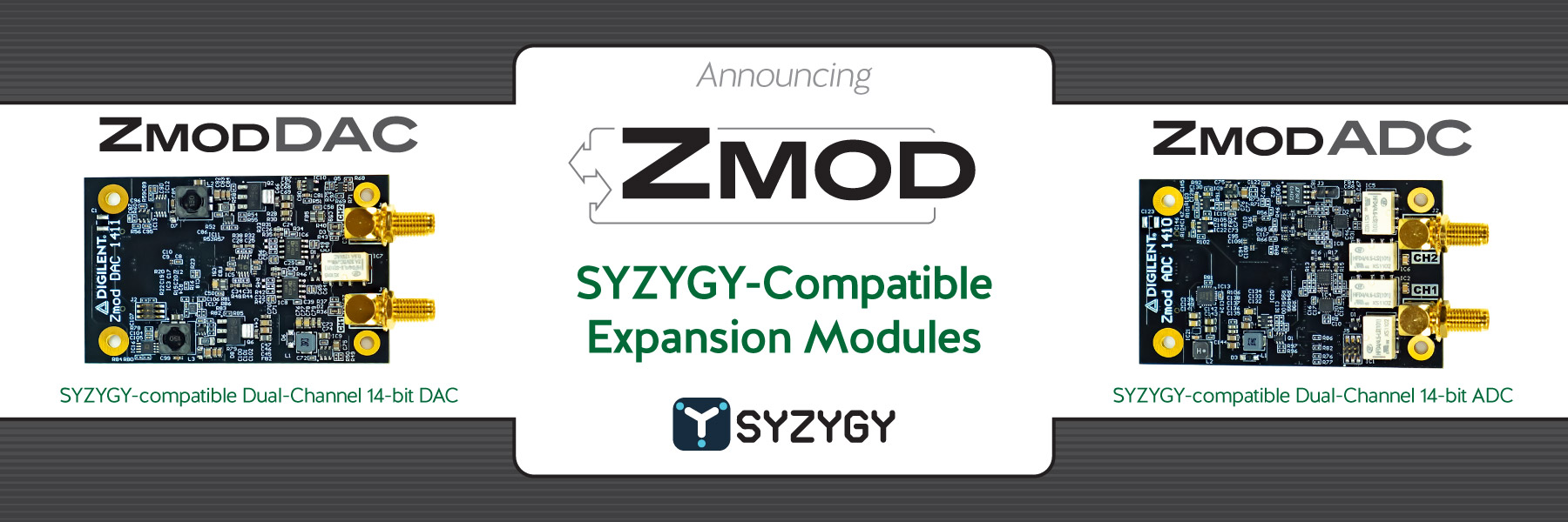 Banner announcing the new SYZYGY-compatible expansion modules, Zmods, available now!
