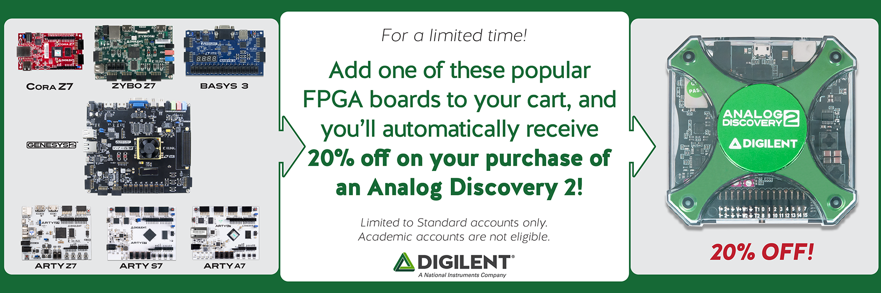 Limited time sale! Buy any FPGA in this category, get 20% off of your purchase of the Analog Discovery 2!