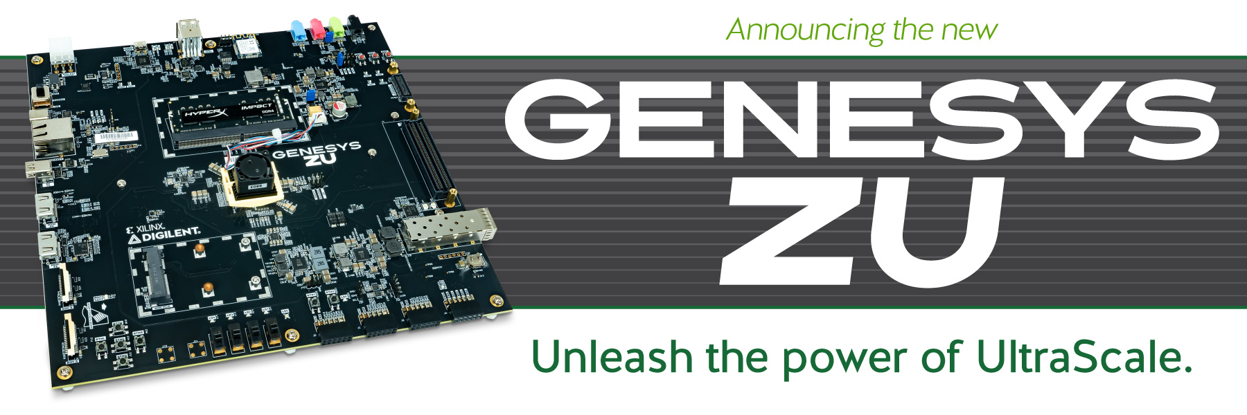 Banner announcing the new Genesys ZU UltraScale board, available now!