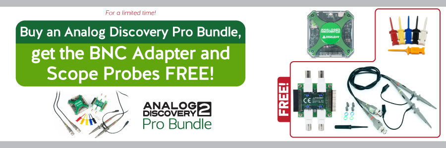 Banner advertising a sale for our popular Analog Discovery Pro Bundle! Buy one now and get a discount so the BNC Adapter and Scope Probes are free!
