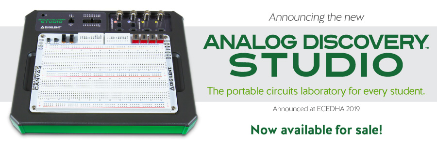 Banner image advertising our newest product: The Analog Discovery Studio, now available for sale!