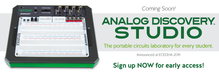 Introducing our newest product: Analog Discovery Studio, the portable circuits laboratory for every student - coming soon! Sign up now for early access!