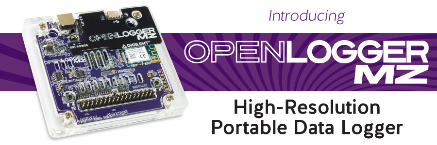 Banner featuring our newest product, the OpenLogger! A High-resolution portable data logger.