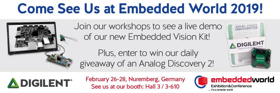 Banner advertising Digilent's presence at Embedded World 2019 February 26-28th.