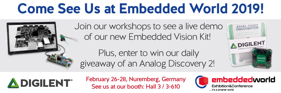 Banner advertising Digilent's presence at Embedded World 2019 February 26-28th.