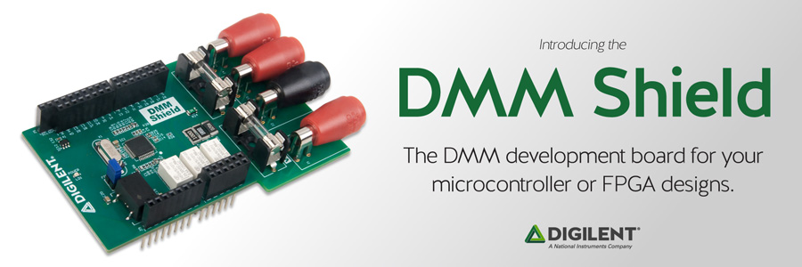 Banner image advertising the DMM Shield, a development board for your microcontroller or FPGA designs.