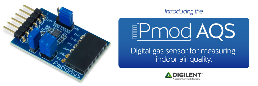 Banner image displaying the newset Pmod: Pmod AQS, a digital gas sensor for measuring air quality