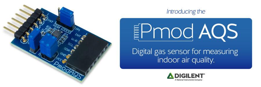 Banner image displaying the newset Pmod: Pmod AQS, a digital gas sensor for measuring air quality