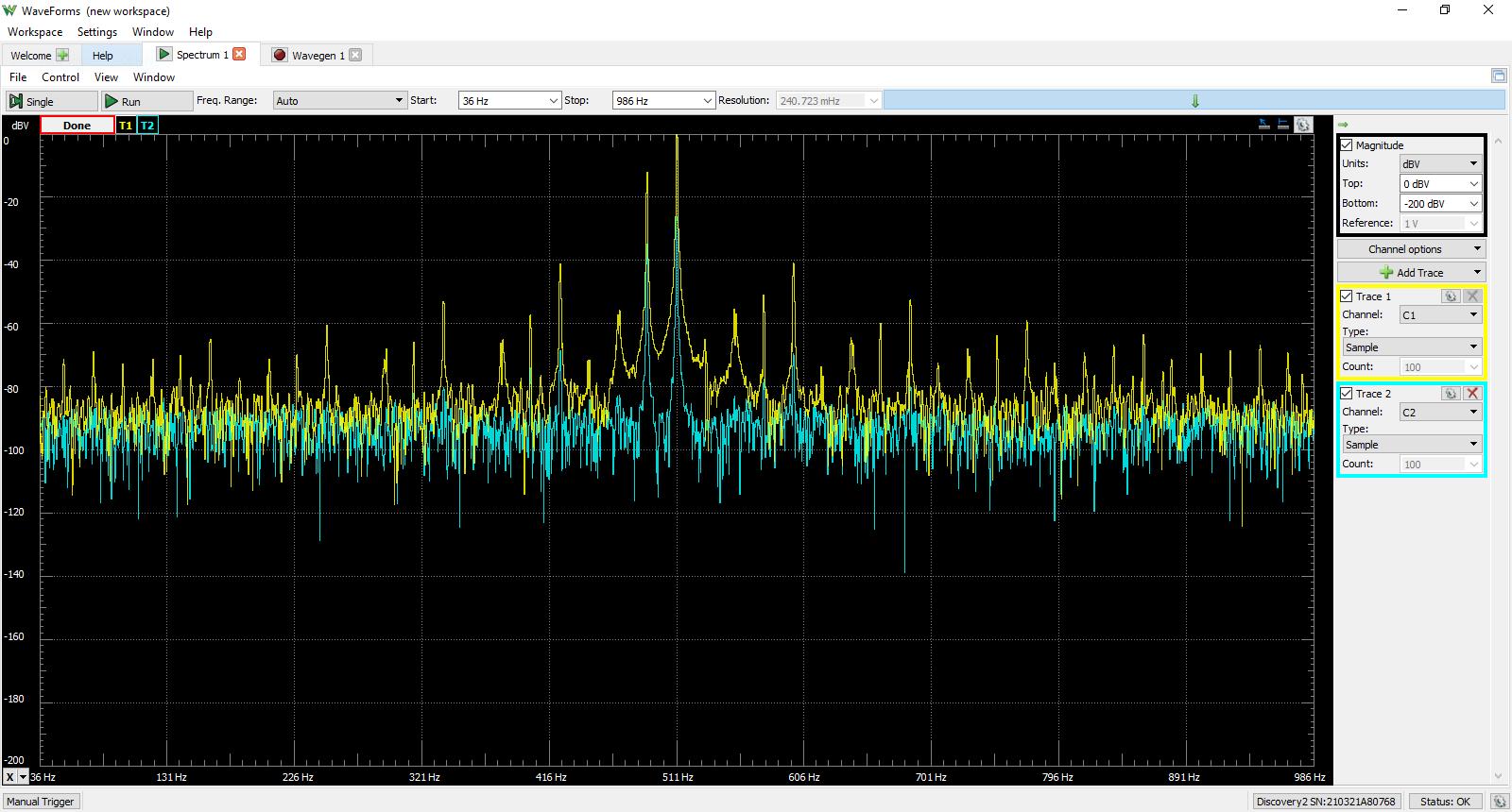 WaveForms Spectrum Analyzer