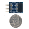 Size comparison product image of the Pmod AD1: Two 12-bit A/D Input and a US quarter (diameter of quarter: 0.955 inches [24.26 mm]; width: 0.069 inches [1.75 mm]).