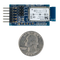 Size comparison product image of the Pmod BT2: Bluetooth Interface and a US quarter (diameter of quarter: 0.955 inches [24.26 mm]; width: 0.069 inches [1.75 mm]).