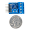 Size comparison product image of the Pmod CON1: Wire Terminal Connectors and a US quarter (diameter of quarter: 0.955 inches [24.26 mm]; width: 0.069 inches [1.75 mm]).