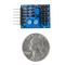 Size comparison product image of the Pmod CON3: R/C Servo Connectors and a US quarter (diameter of quarter: 0.955 inches [24.26 mm]; width: 0.069 inches [1.75 mm]).