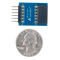 Size comparison product image of the Pmod DA2: Two 12-bit D/A Outputs and a US quarter (diameter of quarter: 0.955 inches [24.26 mm]; width: 0.069 inches [1.75 mm]).