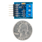 Size comparison product image of the Pmod DPOT: Digital Potentiometer and a US quarter (diameter of quarter: 0.955 inches [24.26 mm]; width: 0.069 inches [1.75 mm]).