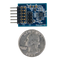 Size comparison product image of the Pmod GYRO: 3-axis Digital Gyroscope and a US quarter (diameter of quarter: 0.955 inches [24.26 mm]; width: 0.069 inches [1.75 mm]).