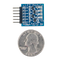 Size comparison product image of the Pmod LED: Four High-brightness LEDs and a US quarter (diameter of quarter: 0.955 inches [24.26 mm]; width: 0.069 inches [1.75 mm]).