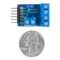 Size comparison product image of the Pmod OD1: Open Drain Output and a US quarter (diameter of quarter: 0.955 inches [24.26 mm]; width: 0.069 inches [1.75 mm]).