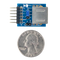 Size comparison product image of the Pmod PS2: Keyboard / Mouse Connector and a US quarter (diameter of quarter: 0.955 inches [24.26 mm]; width: 0.069 inches [1.75 mm]).