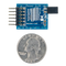 Size comparison product image of the Pmod R2R: Resistor Ladder D/A Converter and a US quarter (diameter of quarter: 0.955 inches [24.26 mm]; width: 0.069 inches [1.75 mm]).
