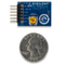 Size comparison product image of the Pmod MIC3: MEMS Microphone with Adjustable Gain and a US quarter (diameter of quarter: 0.955 inches [24.26 mm]; width: 0.069 inches [1.75 mm]).