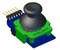 Angled view of the Pmod JSTK2 3D CAD model. Available for download in the Resource Center.