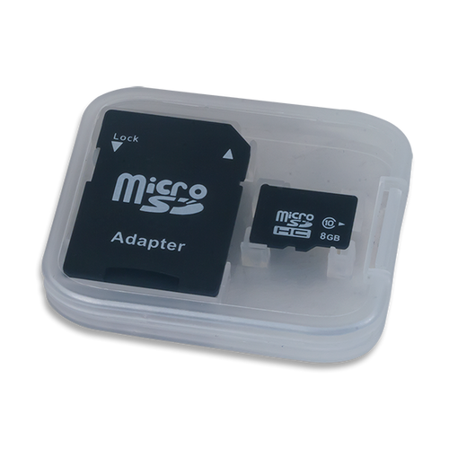 Product image of of the PYNQ-Z1 Version 8GB microSD Card with Adapter in its protective plastic case. This microSD card comes pre-loaded with the PYNQ-Z1 boot image.