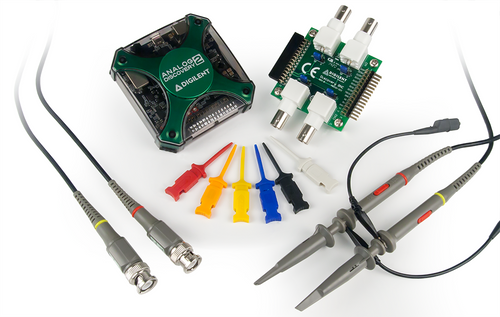 Product image of the Analog Discovery 2 Pro Bundle with the included BNC Adapter for Analog Discovery, BNC Oscilloscope probes, Mini Grabber Test Clips, and the Analog Discovery 2.