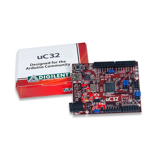 uC32: Arduino-programmable PIC32 Microcontroller Board product image displayed with the custom Digilent cardboard packaging.