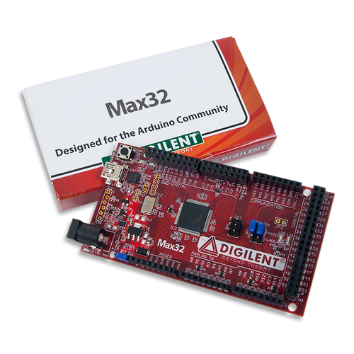 Max32: Arduino-programmable PIC32 Microcontroller Board product image with custom Digilent cardboard packaging.