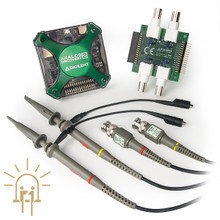 Analog Discovery 2 Contextual Electronics Bundle product image. Includes the Analog Discovery 2 with accessories, BNC Adapter Board for the Analog Discovery, and the pair of BNC Oscillosope x1/x10 Probes.