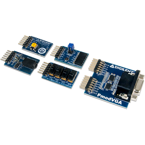 Arty S7 Pmod Pack product image. Includes the Pmod VGA, Pmod MIC3, Pmod AMP2, Pmod HYGRO, and the Pmod SWT.
