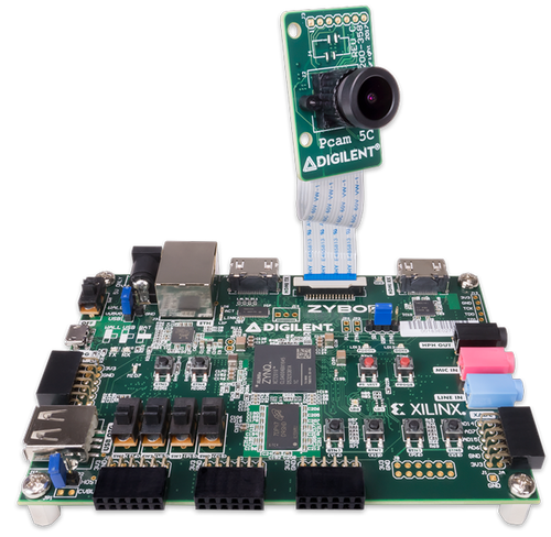 Product image of the Embedded Vision Bundle that includes the  Zybo Z7-20 Zynq-7000 ARM/FPGA SoC Development Board and the Pcam 5C 5 MP Fixed Focus Color Camera Module.