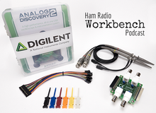 Ham Radio Bundle contents product image. Includes Analog Discovery 2 kit, BNC Adapter board, BNC Oscilloscope probes (pair), mini grabbers (6-pack), and an extra 2x15 flywire cable.